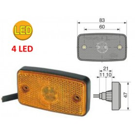 FANALE LATERALE 24V 4LED ARANCIO CAVO 500 MM