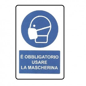 SEGNALE DI OBBLIGO MASCHERINA 33X50 CM ALLUMINIO